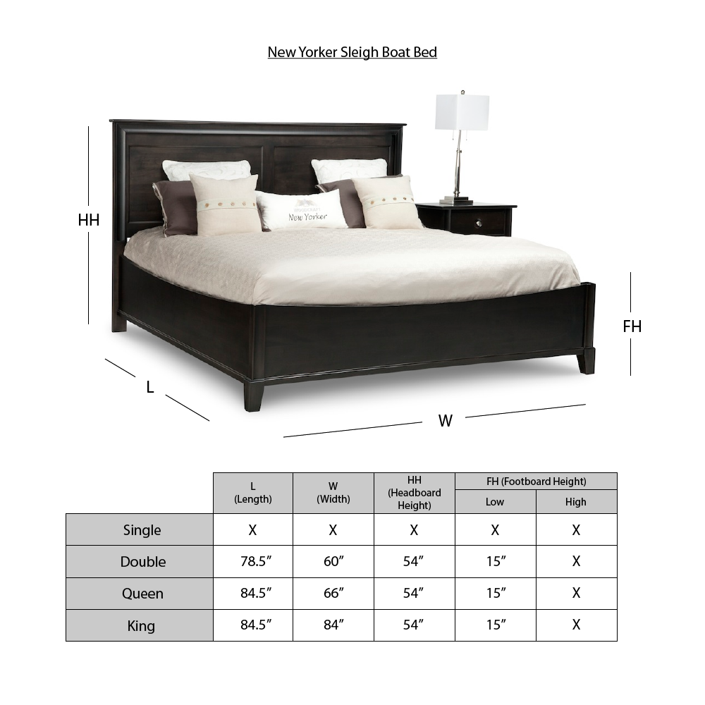 New Yorker Sleigh Bed Dimensions