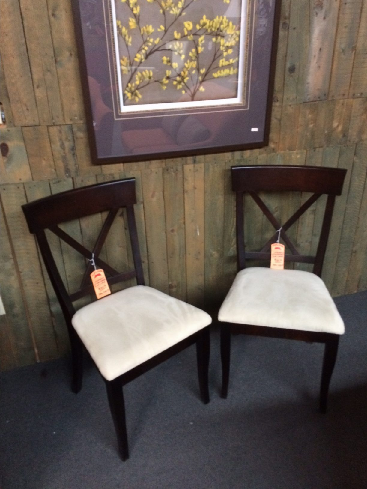 (2) Crossback Upholstered Side Chairs