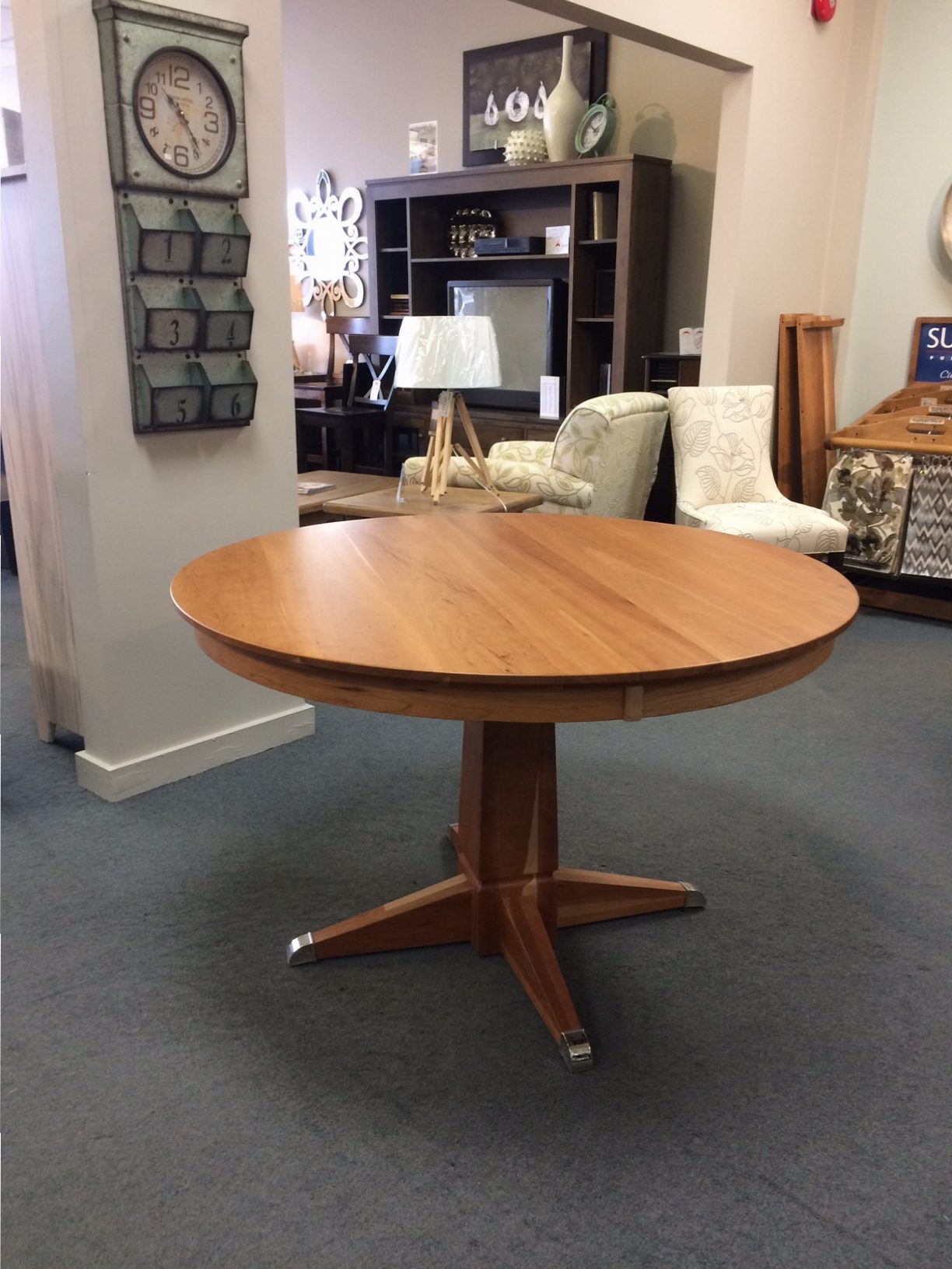 "48"" Round Danish Single Pedestal Table w/ 2-12 Ctr. Ext."