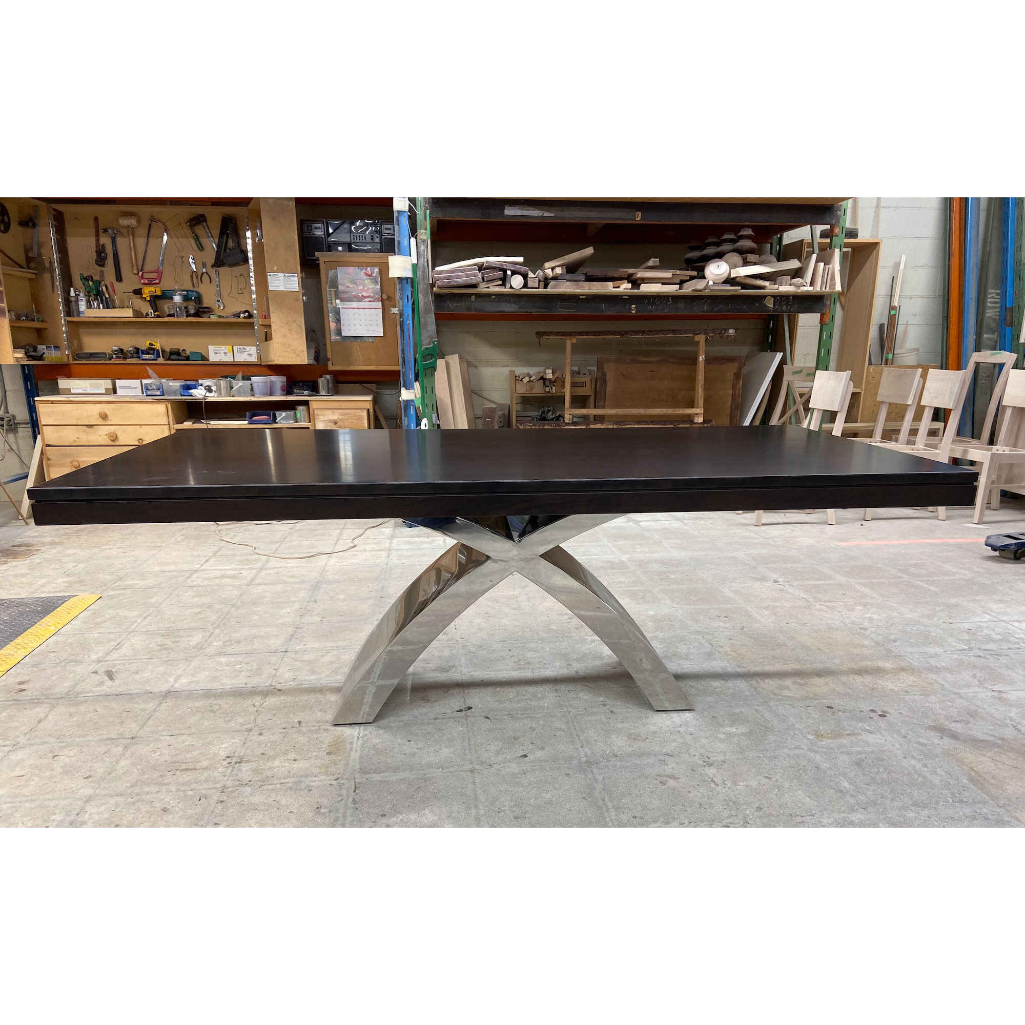 """Broadview Chrome Table with two 16"""" End Extensions"""
